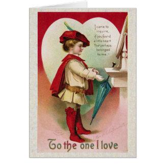 """Tarjeta del día de San Valentín antigua """"al un"""