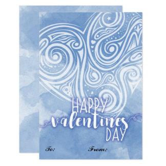 Tarjeta del día de San Valentín azul del corazón Invitación 8,9 X 12,7 Cm