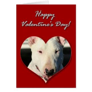 Tarjeta del día de San Valentín de bull terrier de