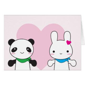 Tarjeta del día de San Valentín de Kawaii del