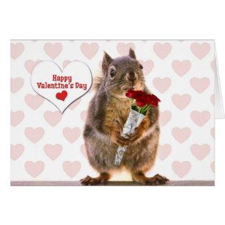 Tarjeta del día de San Valentín de la ardilla