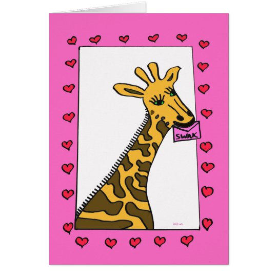 Tarjeta del día de San Valentín de la jirafa del