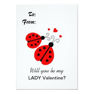 Tarjeta del día de San Valentín de la mariquita Invitación 11,4 X 15,8 Cm