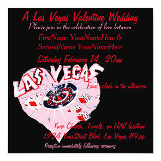 Tarjeta del día de San Valentín de Las Vegas que Invitación 13,3 Cm X 13,3cm