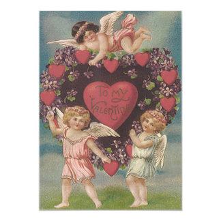 Tarjeta del día de San Valentín de las violetas Invitación 12,7 X 17,8 Cm