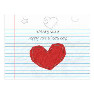 Tarjeta del día de San Valentín de papel del