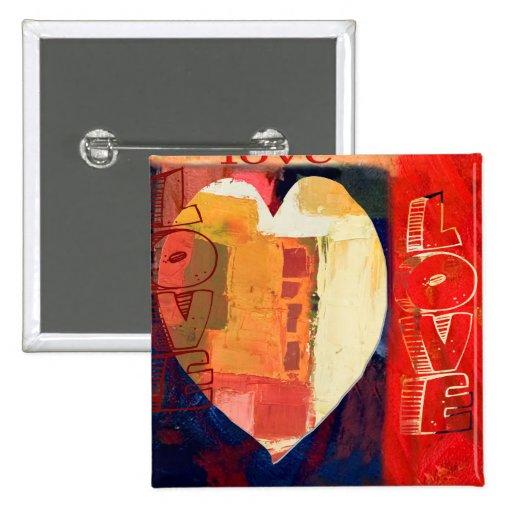 Tarjeta del día de San Valentín del arte abstracto Pin