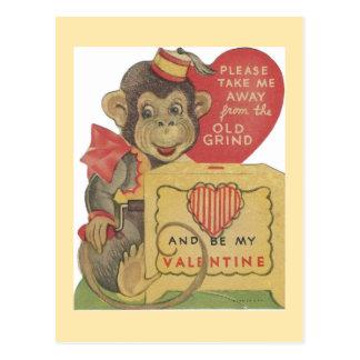 Tarjeta del día de San Valentín del mono de la