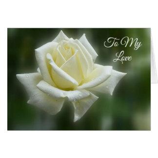 Tarjeta del día de San Valentín del rosa blanco