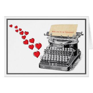 Tarjeta del día de San Valentín escrita a máquina