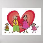Tarjeta del día de San Valentín feliz del corazón  Posters