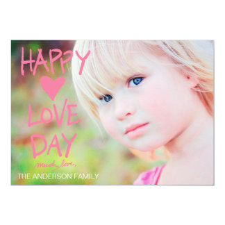 Tarjeta del día de San Valentín feliz rosada del Invitación 12,7 X 17,8 Cm
