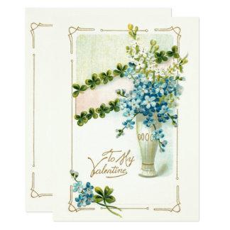 Tarjeta del día de San Valentín floral del vintage Invitación 12,7 X 17,8 Cm