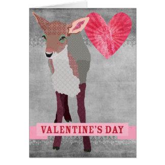 Tarjeta del día de San Valentín gris retra del