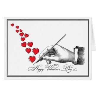 Tarjeta del día de San Valentín manuscrita