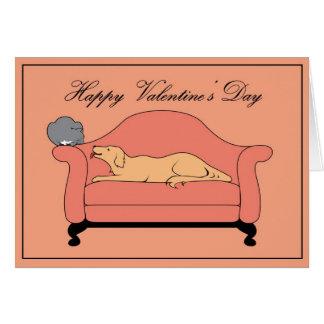 Tarjeta del día de San Valentín para los gatos y l