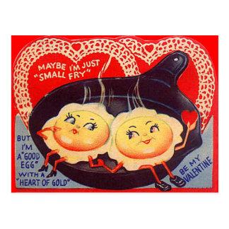 Tarjeta del día de San Valentín retra de los huevo