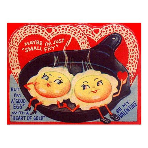 Tarjeta del día de San Valentín retra de los huevo Postales