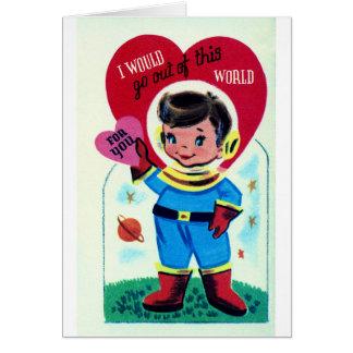 Tarjeta del día de San Valentín retra del espacio