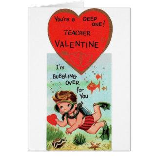 Tarjeta del día de San Valentín retra del profesor