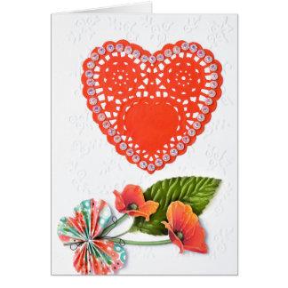 Tarjeta del día de San Valentín roja del corazón