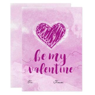 Tarjeta del día de San Valentín rosada del corazón Invitación 12,7 X 17,8 Cm