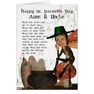 Tarjeta del día de St Patrick con la tía y Uncl