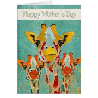 Tarjeta del día de tres madres de las jirafas que