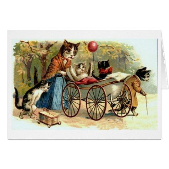 Tarjeta del día del gato de la madre del vintage y