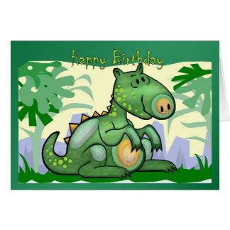 Tarjeta del dinosaurio del feliz cumpleaños