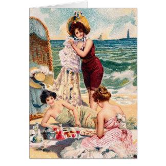 Tarjeta del ejemplo de la playa del vintage del