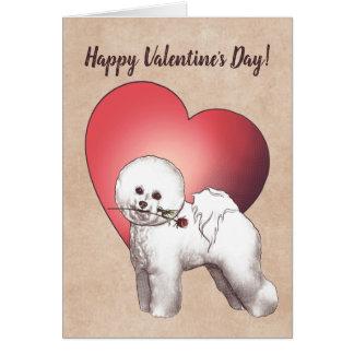 Tarjeta del el día de San Valentín de Bichon Frise