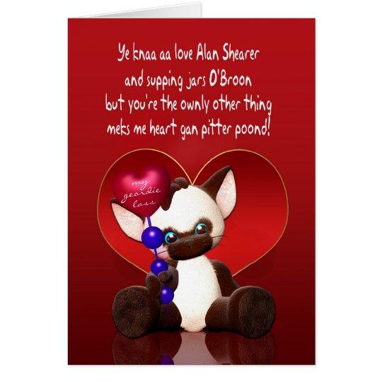 Tarjeta del el día de San Valentín de Geordie -