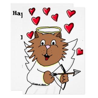 Tarjeta del el día de San Valentín del gato Invitación 12,7 X 17,8 Cm
