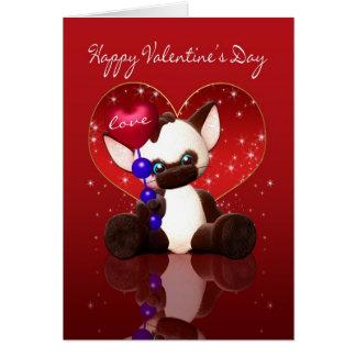 Tarjeta del el día de San Valentín - gato siamés l