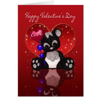 Tarjeta del el día de San Valentín - oso de panda