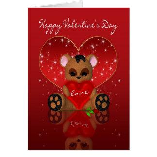 Tarjeta del el día de San Valentín - oso lindo del
