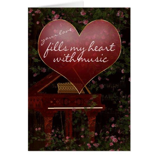 Tarjeta del el día de San Valentín - piano,