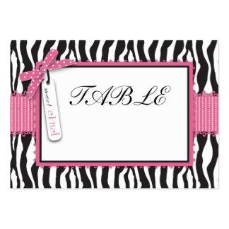 Tarjeta del estampado de zebra y de la tabla del a tarjetas personales