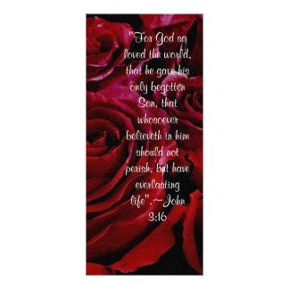 Tarjeta del estante de los rosas del 3:16 de Juan Lona