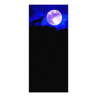 Tarjeta del estante del lobo y de la luna lona personalizada