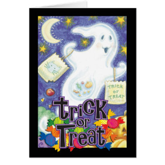 Tarjeta del fantasma de Halloween del truco o de