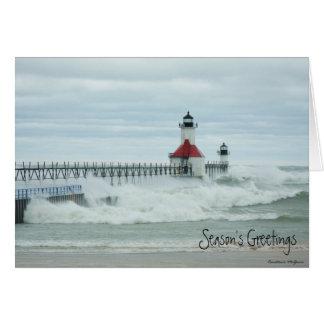 Tarjeta del faro de Sandy el lago Michigan del