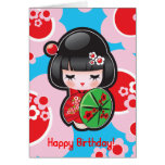 Tarjeta del feliz cumpleaños de Kawaii