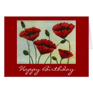 Tarjeta del feliz cumpleaños de las amapolas