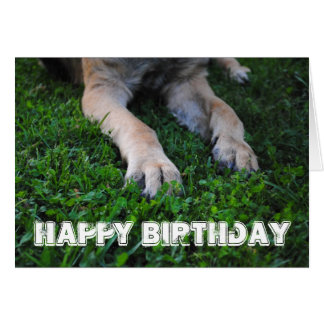 Tarjeta del feliz cumpleaños de las patas del past