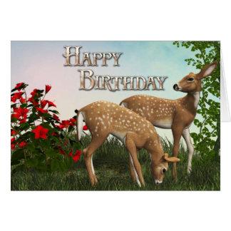Tarjeta del feliz cumpleaños de los ciervos del