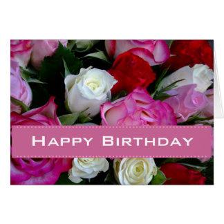 Tarjeta del feliz cumpleaños de los rosas