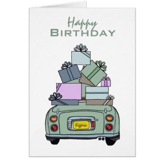 Tarjeta del feliz cumpleaños de Nissan Figaro del