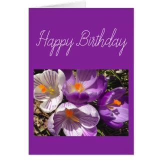 Tarjeta del feliz cumpleaños del azafrán de la